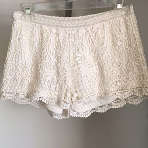 White Lacy Shorts
